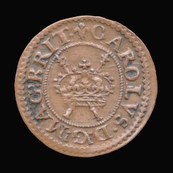 Obverse of a genuine Maltravers farthing of Charles I