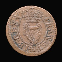 Reverse of a genuine Maltravers farthing of Charles I
