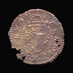 Reverse of a suspect Maltravers farthing of Charles I