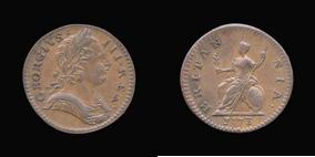 P0911__0 Farthing, Currency Farthing in Copper of George III