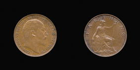 P2236__0 Farthing, Currency Farthing in Bronze of Edward VII