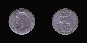 P2322 Farthing, Currency Farthing in Bronze of George V
