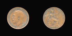 P2324 Farthing, Currency Farthing in Bronze of George V