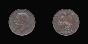 P2325 Farthing, Currency Farthing in Bronze of George V