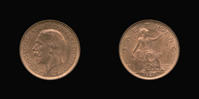 P2340 Farthing, Currency Farthing in Bronze of George V