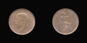 P2342 Farthing, Currency Farthing in Bronze of George V