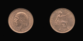 P2344 Farthing, Currency Farthing in Bronze of George V