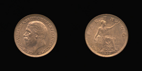 P2346 Farthing, Currency Farthing in Bronze of George V