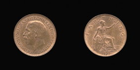 P2350 Farthing, Currency Farthing in Bronze of George V