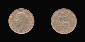 P2352 Farthing, Currency Farthing in Bronze of George V