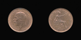 P2354 Farthing, Currency Farthing in Bronze of George V