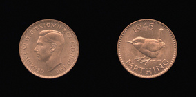 P2473 Farthing, Currency Farthing in Bronze (wartime) of George VI
