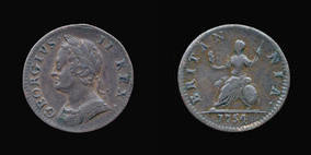 S3722__0 Farthing, Currency Farthing in Copper of George II