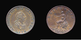 S3779__0 Farthing, Currency Farthing in Copper of George III