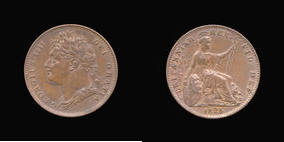S3822__0 Farthing, Currency Farthing in Copper of George IV
