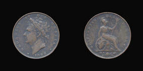 S3825__1 Farthing, Currency Farthing in Copper of George IV